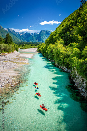 Poster Riviere River Soča in Slovenia, Europe