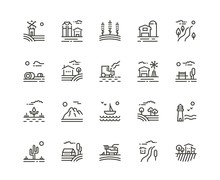 Village Line Icons Of Agricult...