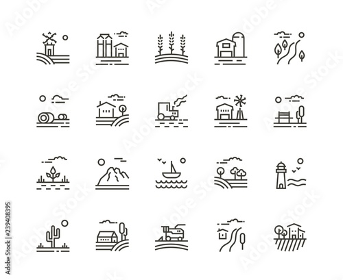 Village line icons of agriculture landscapes. Set of farming field, farm buildings, harvester trucks, tractors, mountains, boat, garden and plantation. Vector illustration, rural Wall mural