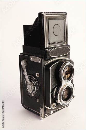 Fotografie, Obraz  Antique Twin Lens Camera on White BG