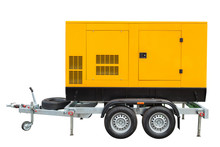 Mobile Diesel Generator For Emergency Electric Power Isolated On White Background With Clipping Path