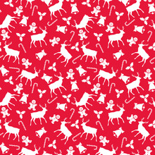 Christmas Icons Seamless Pattern - Reindeer, Bell, Holly, Candy Cane, And Gingerbread Man On Red Background