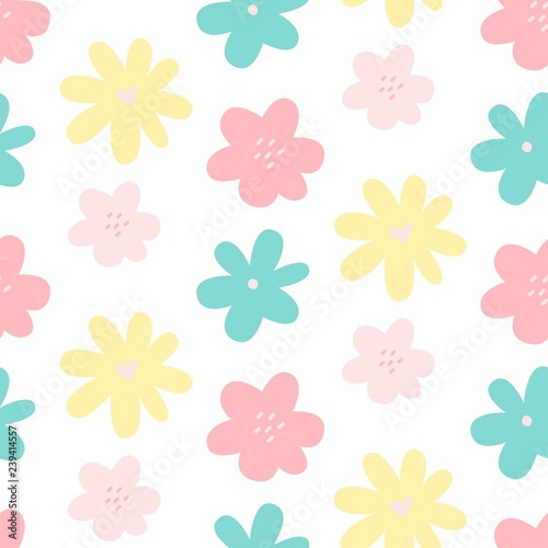 Cute Flower Simple Minimalistic Seamless Pattern Graphic Design For Paper Textile Print Floral Background With Hand Drawn Flowers Vector Illustration Buy This Stock Vector And Explore Similar Vectors At Adobe Stock,Royal Blue Wedding Cupcake Designs