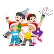 a happy family is celebrating christmas with making a party