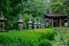 Stone Pagodas Leading To Entrance Of Yongfu Temple, Hangzhou, China
