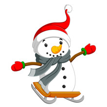 A Happy Snowman Is Sliding On The Board With The Gray Shawl