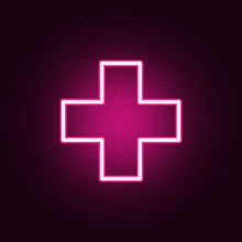 Plus Sign Icon. Elements Of Web In Neon Style Icons. Simple Icon For Websites, Web Design, Mobile App, Info Graphics