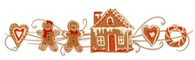 Gingerbread Men, People,  Scene, Banner, Header, Border, Happy Holidays, Wide, Cute, Fun, Hand Drawn Illustration With Flourish, In Traditional Gingerbread Colors