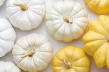White And Yellow Pumpkins On A White Background, Creative Flat Lay Thanksgiving Concept