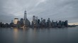 Aerial footage of lower Manhattan; taken from Jersey City