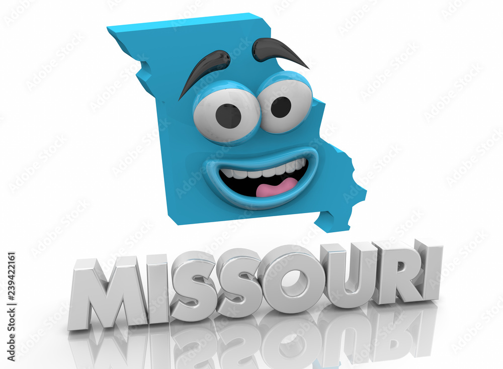 Missouri MO State Map Cartoon Face Word 3d Illustration Foto, Poster ...