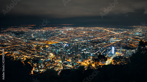 Poster South America Country Skyline of Bogota from Monserrate at night
