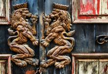 Detail Of An Old Door, Vietnam, Southeast Asia