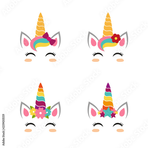 Photo Stands Illustrations Unicorn faces collection