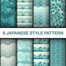 Japanese Seamless Patterns Vec...