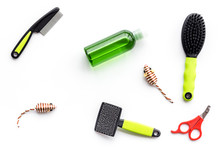 Care About Pet With Brushes, Mice And Grooming Equipment White Background Top View