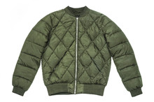 Fashionable Winter Jacket In Green On A White Background