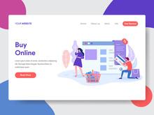 Landing Page Template Of Online Shopping. Modern Flat Design Concept Of Web Page Design For Website And Mobile Website.Vector Illustration