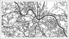 Dresden Germany City Map In Retro Style. Outline Map.