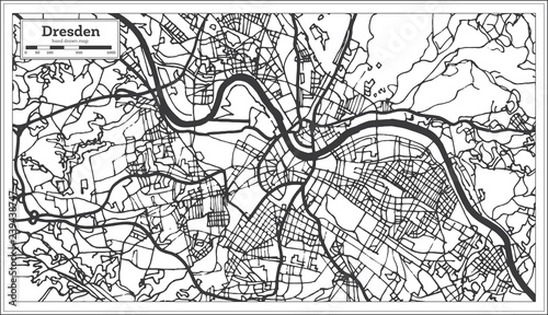 Dresden Germany City Map in Retro Style. Outline Map. – kaufen Sie on