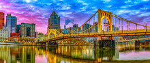 Panorama Of Sixth Street Bridge And Pittsburgh From The North Shore
