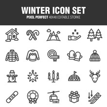 This Is A Set Of Winter Icons. Editable Stroke. 48×48 Pixel Perfect.
