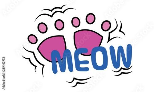 Fotografia Cat pink footprints