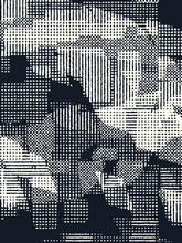 Abstract Grunge Vector Background. Monochrome Grid Composition Of Irregular Overlapping Graphic Elements.