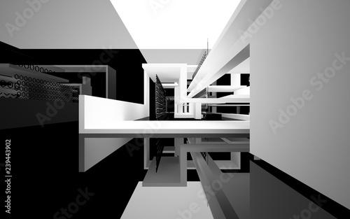 Streszczenie białe wnętrze przyszłości z błyszczącą czarną ścianą i podłogą. Ilustracja i renderowanie 3D
