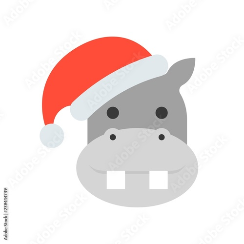 a624f9e6b92f8 hippo wearing santa hat flat icon design - Buy this stock vector and ...