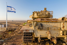 Israeli Flag Flying Beside A Decommissioned Israeli Centurion Tank Used During The Yom Kippur War At Tel Saki On The Golan Heights In Israel