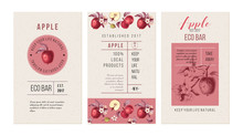 Eco Bar Template. 3 Banners With Hand Drawn Apples