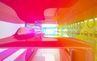 Leinwanddruck Bild - abstract architectural interior with colored smooth sculpture. 3D illustration and rendering