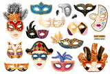 Hand drawn venetian carnival masks collection - 239446763