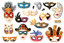 Hand Drawn Venetian Carnival Masks Collection