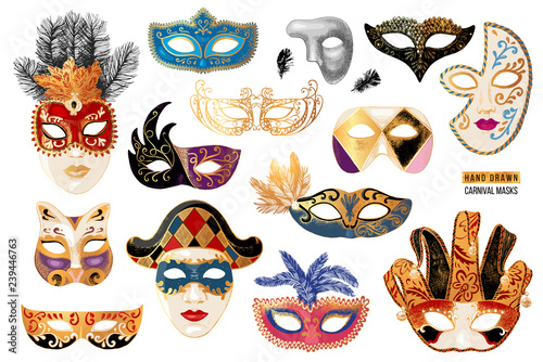 Obraz Hand drawn venetian carnival masks collection - fototapety do salonu