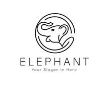 Line Art Roaring Elephant In Circle Logo Design Inspiration