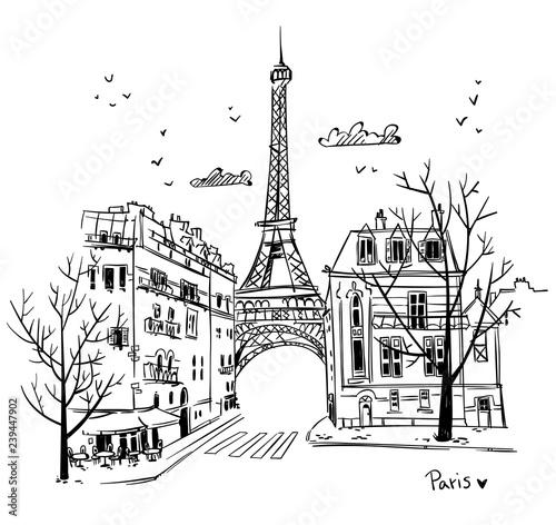 Fototapeta Streets of Paris sketch, vector illustration obraz