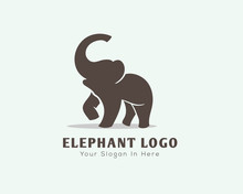 Stand Elephant With Roaring Logo Design Inspiration