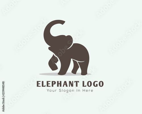 Canvas Print Stand elephant with roaring logo design inspiration