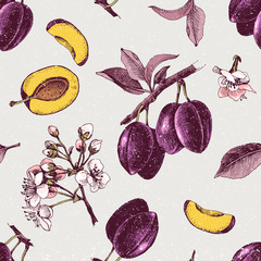 Panel Szklany Owoce Seamless pattern with hand drawn plum flowers and fruits