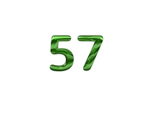 Green Number 57 Isolated White Background