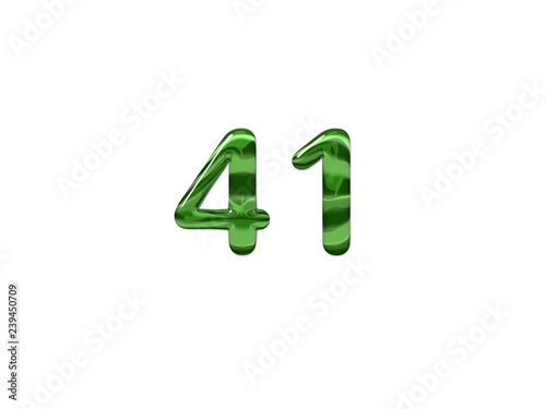 Fotografia Green Number 41 isolated white background