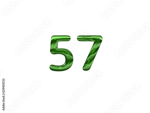 Fotografie, Obraz  Green Number 57 isolated white background