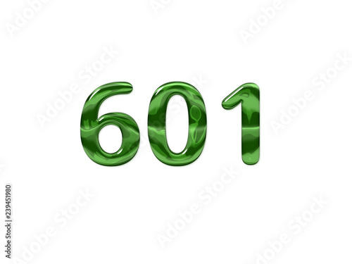 Fotografia  Green Number 601 isolated white background