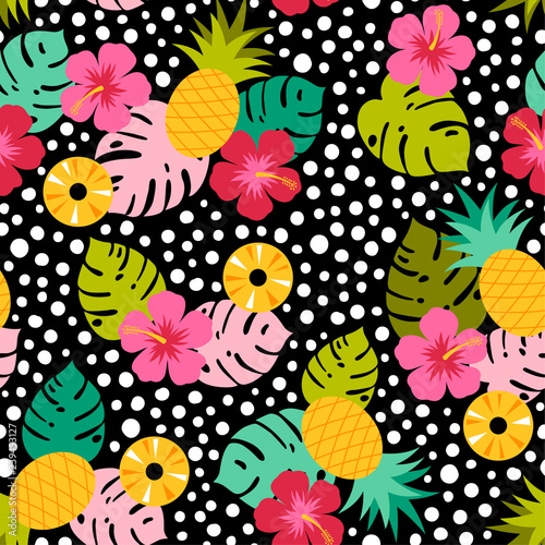 Cotton fabric Colorful tropical elements seamless pattern with dots background
