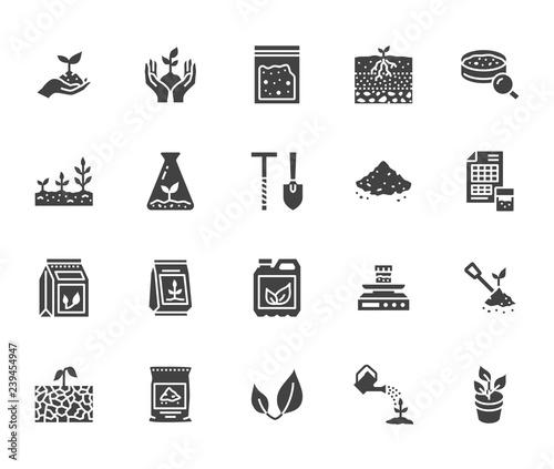 Photographie Soil testing flat glyph icons set