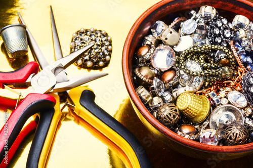 Fotografie, Obraz  Jewelry making tools and accessories