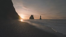 Sunrise At Blacksand Beach In Iceland