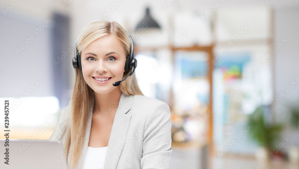 Fototapeta business, technology and communication concept - female helpline operator in headset working at office